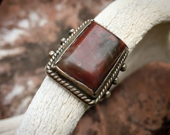 1940s Fred Harvey Era Petrified Wood Ring for Men or Women Size 7.5, Vintage Southwestern Jewelry, Father's Day Gift for Husband