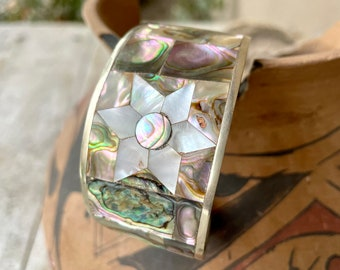 German Silver and Abalone Turquoise Cuff Bracelet with Star Design, Mexican Jewelry for Women