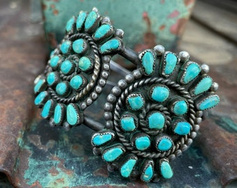"""Old Zuni Natural Turquoise Petit Point Cluster Cuff Bracelet Size 7"""" Wrist, Native American Jewelry"""