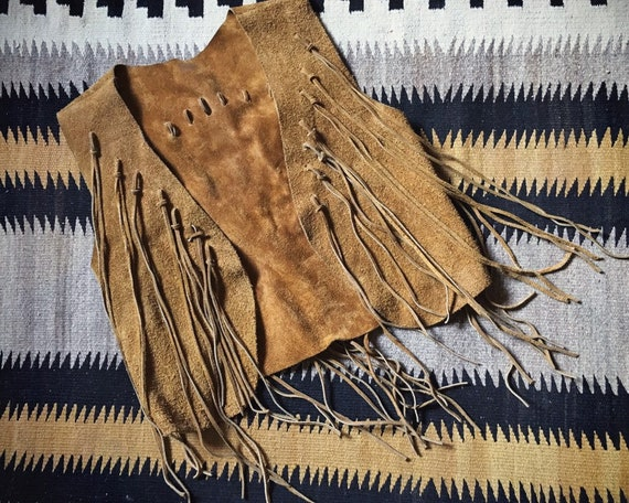 1970s Boho Hippie Cropped Leather Suede Vest with