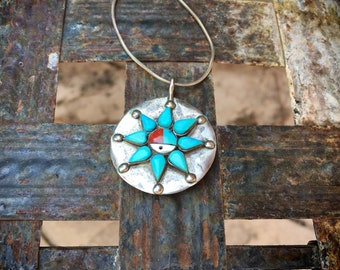 Two-Sided Turquose Pendant Necklace and Mother of Pearl Zuni Sun Face, Native American Jewelry