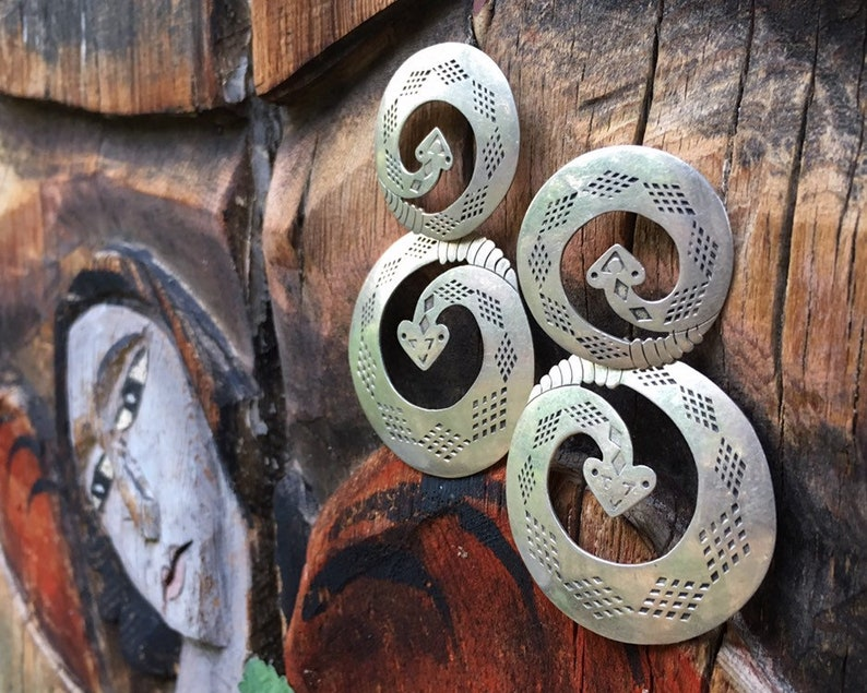 Snake Jewelry Herpetology Gifts Halloween Costume Huge 1980s Rattlesnake Earrings Taxco Sterling Silver Hoops Mexican Jewelry