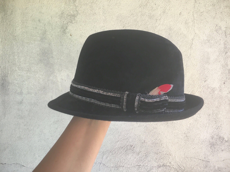 b8339dd7 Dunhill Fur Felt Trilby Hat for Men 1950s Hat, Black Hat, Felt Hat, Fedora  Hat, Gift for Men