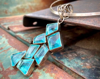 Large Light Blue Glass Cluster Pendant on Torque Collar, Bohemian Statement Jewelry, March Birthday