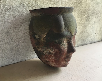 Vintage Mexican Pottery Vessel Planter Shaped Like Head Redware with Brass Trim, Primitive Decor