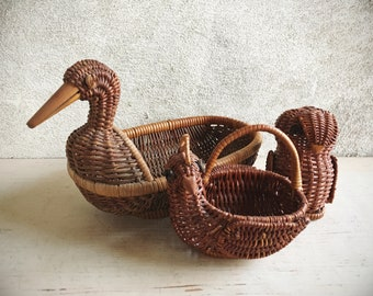 Instant Collection of Wicker Bird Woven Baskets Swan Quail Owl, Table Top Display, Spring Decor