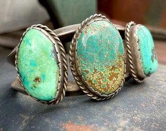 78g Old Navajo Cuff Bracelet with Untreated Natural Turquoise Stones, Native American Jewelry Men's
