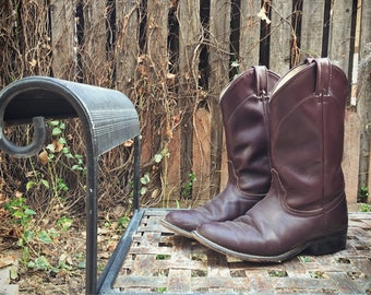 Vintage Cowboy Boot Women Size 7.5 Burgundy Leather Laredo Roper Boot, Cowgirl Boots