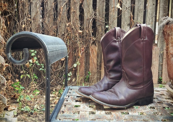 Vintage Cowboy Boot Women Size 7.5 Burgundy Laredo Roper Boot, Cowgirl Boots, Round Toe Western Boot, Festival Boots Leather Boots for Women