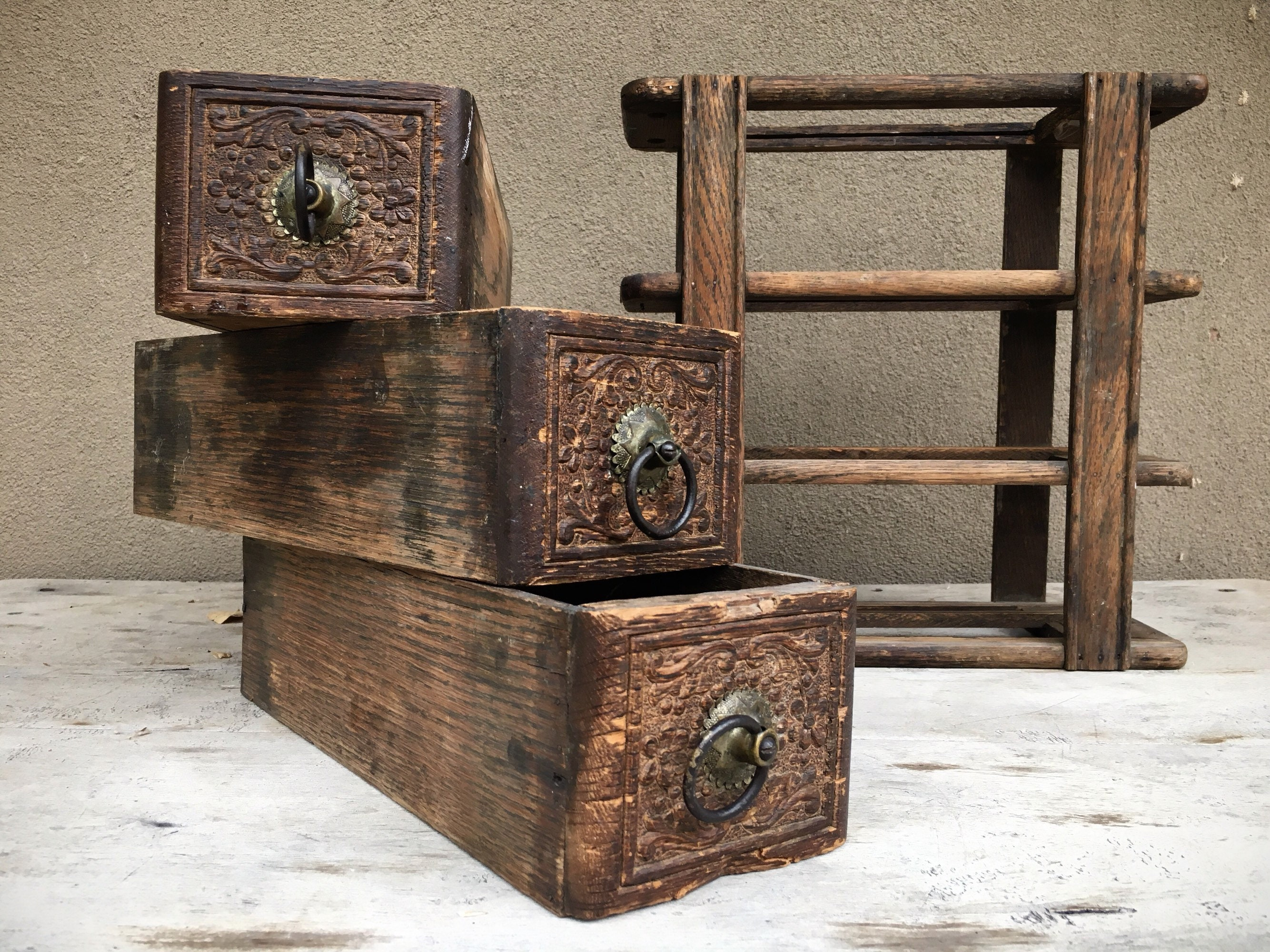 Old Rustic Sewing Machine Wood Drawers In Frame, Rustic