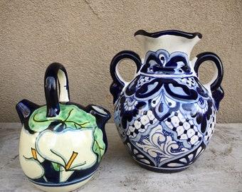 Mexican Vases Blue White Decor Bohemian Home, Talavera Pottery, Mexican Pottery, Boho Style