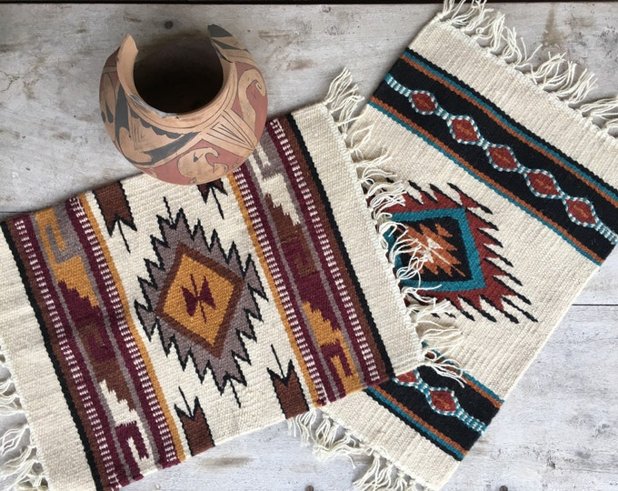 Featured listing image: Pair of Handwoven Wool Placemats or Tables Mat Southwestern Decor, Woven Table Runners