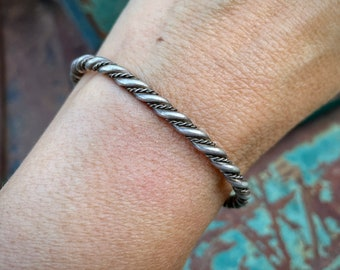 Dainty Twist Wire Sterling Silver Row Bracelet for Stacking, Native American Indian Jewelry