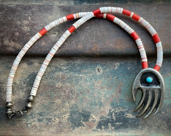 """1970s Red Coral and Shell Heishi Choker Necklace 16"""" with Sandcast Silver Turquoise Bear Claw"""