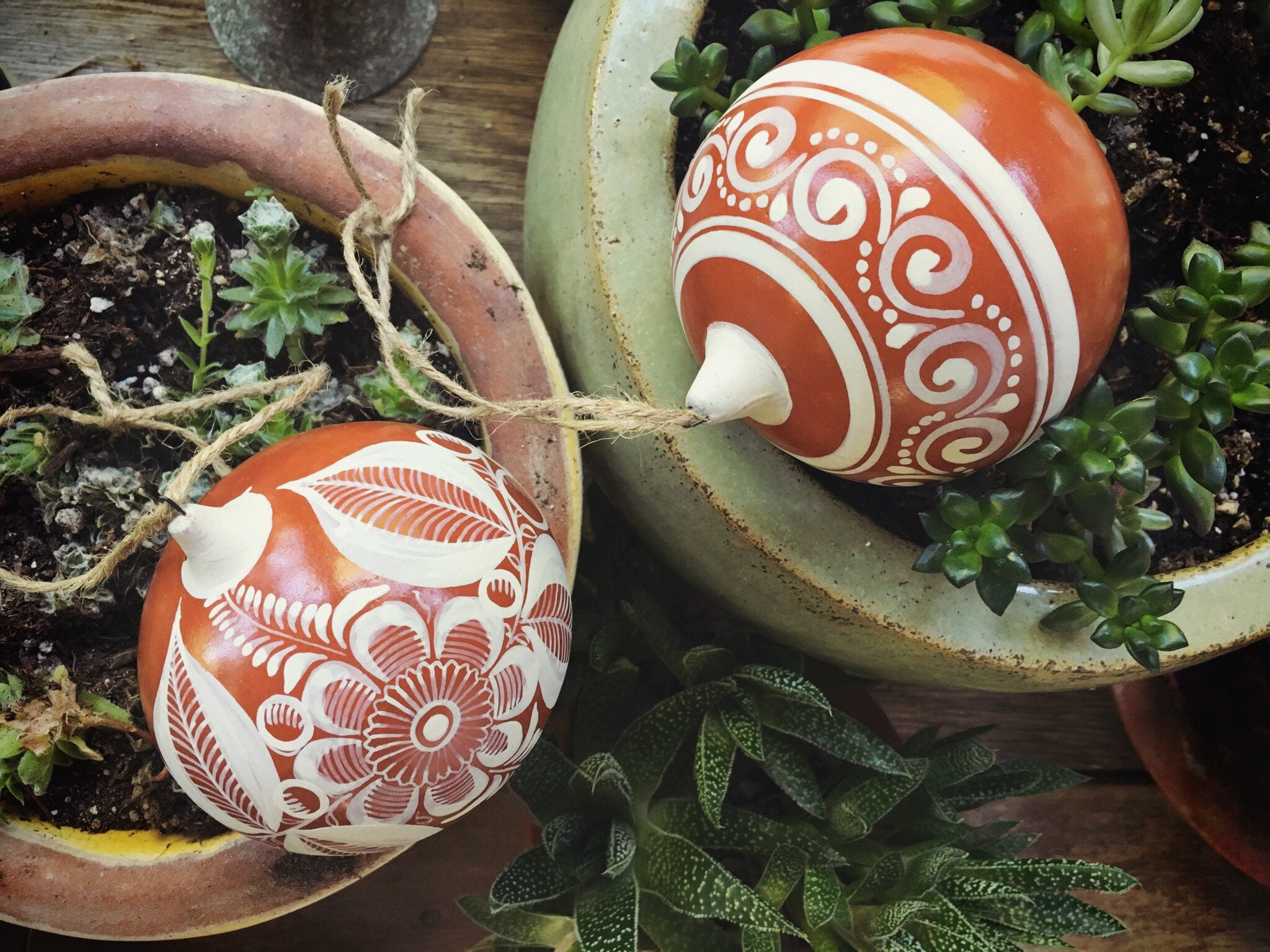 Two Burnished Pottery Mexican Christmas Ornaments By Jimon