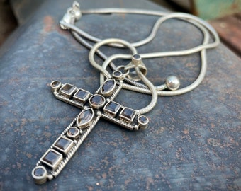 Smoky Quartz Sterling Silver Cross Pendant Necklace, Vintage Estate Jewelry, Catholic Gift