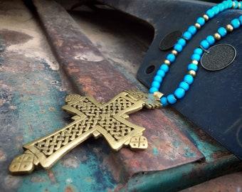 Vintage Brass Ethiopian Cross Pendant on Blue White Heart Trade Bead Necklace, Nomad Jewelry Axum