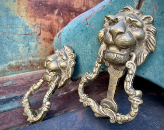 """Pair of 6.5"""" Tall Antique Cast Brass Lion Door Knockers from Spanish Colonial Home in Oaxaca Mexico"""