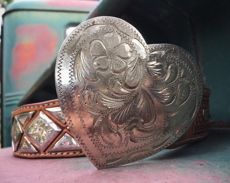 Silver Plated Heart Shaped Western Belt Buckle OR Double J