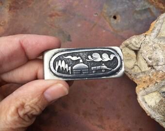 Vintage Signed Hopi Indian Silver Overlay Money Clip with Hogan Village Scene, Gift for Men