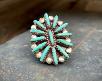 Vintage Zuni Turquoise Needlepoint Cluster Ring Size 6.75, Sleeping Beauty Mine, Native American Indian Jewelry for Women, Old Pawn