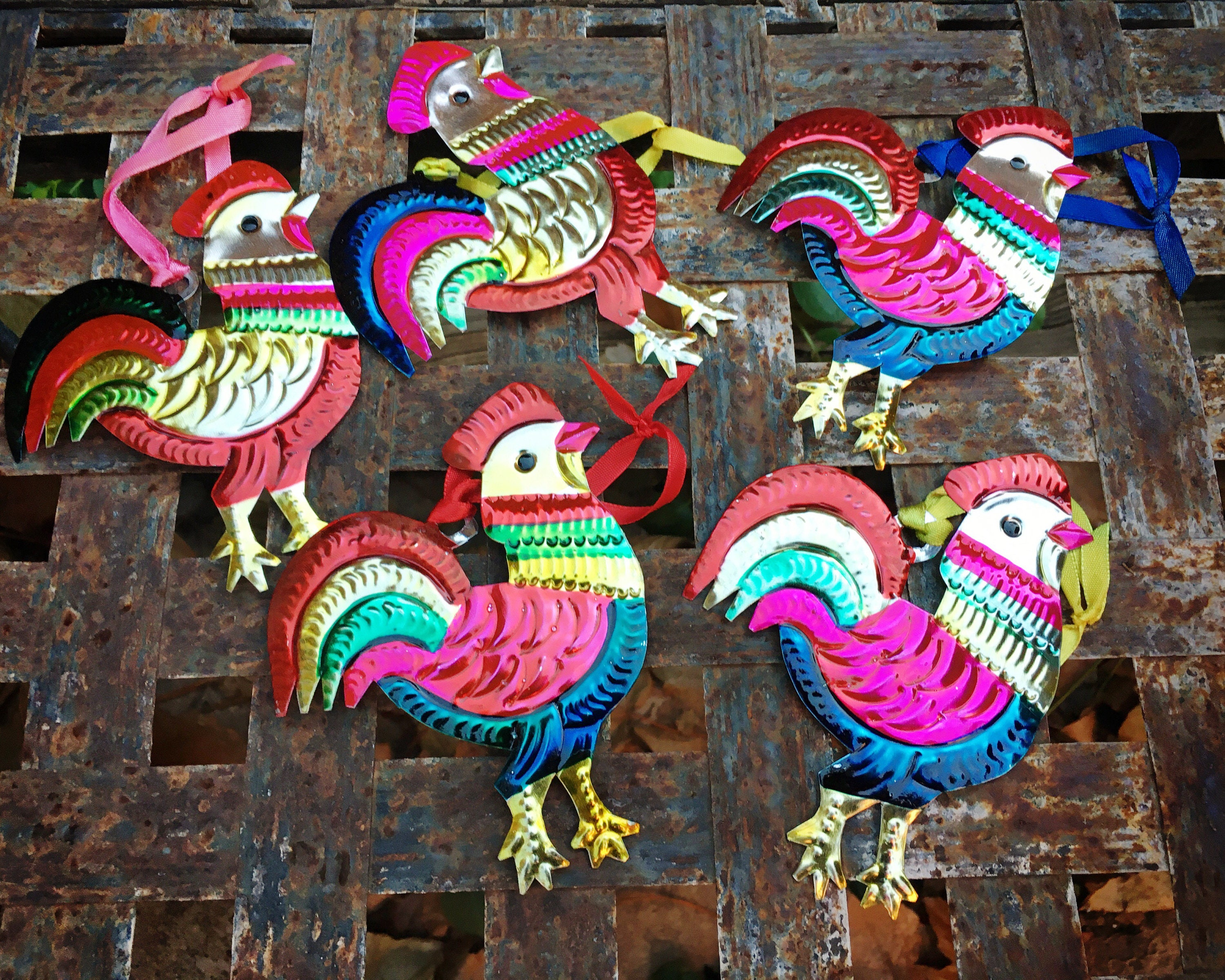 Lot of Five Mexican Tin Ornament of Roosters, Christmas ...