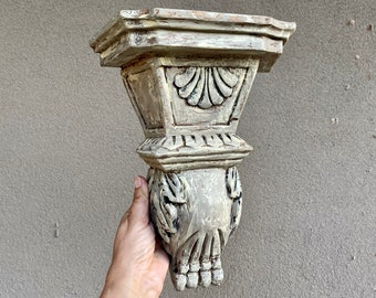 Vintage Rustic Painted Carved Wood Corbel Shelf, Architectural Salvage, Hacienda Decor, Wall Sconce