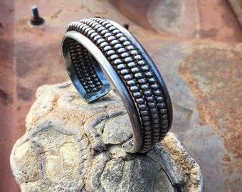 48g Twist Wire Half Round Sterling Silver Cuff Bracelet for Women, Native American Indian Jewelry