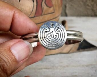 Girl's Dainty Sterling Silver Man in the Maze Cuff Bracelet, Vintage Southwestern Native American