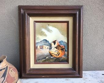 "1986 8"" x 10"" Two Dimensional Original Painting of Pottery by Wanda Coffey Framed 16"" x 18"", Southwestern Decor"