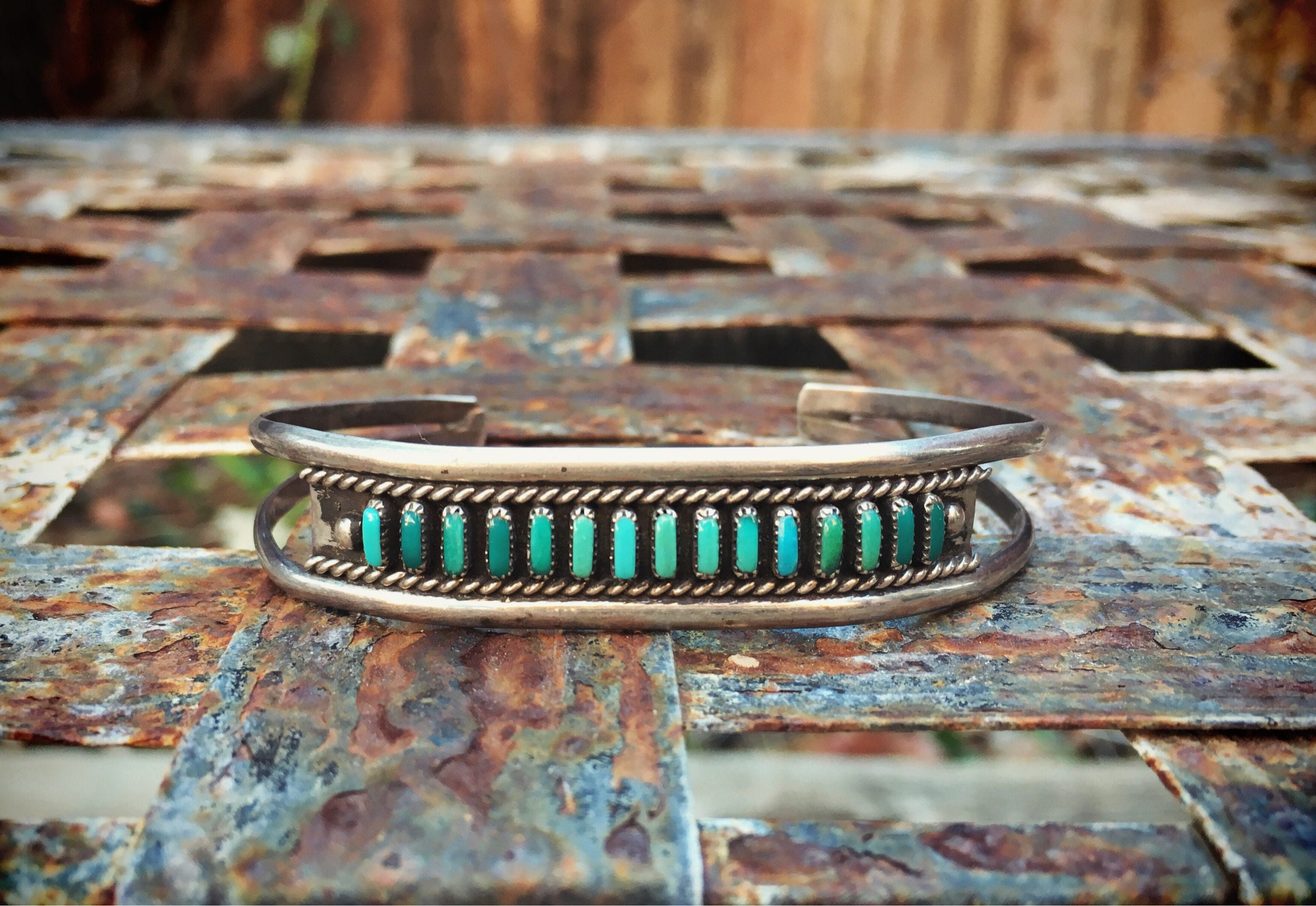 Signed Zuni Turquoise Cuff Bracelet Native American Indian Jewelry