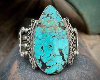 HUGE 98g Matrixed and Cracked Natural Turquoise Cuff Bracelet, Vintage Native American Jewelry