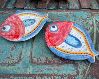 Pair of Vintage Italian Giovanni De Simone Hand Painted Fish Ceramic Plates, Decorative Kitchen