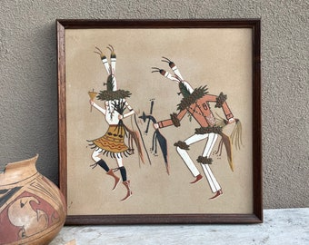 Framed Navajo Sand Painting Kachina Dancers 17x17, Southwestern Wall Decor, Native American Art
