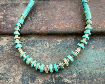 """Turquoise Bead Heishi Necklace 17.5"""" for Women or Men, Native American Indian Jewelry Southwestern"""