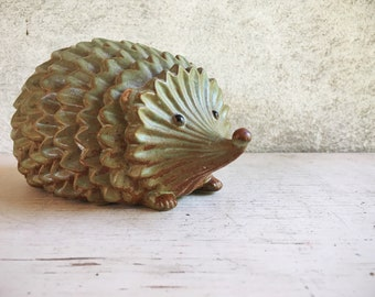 Stoneware Pottery Hedgehog Figurine with Celadon Glaze, Hedgehog Gifts for Young Woman