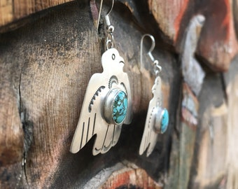 Signed Navajo Earrings Sterling Silver Thunderbird Concho Earrings with Turquoise