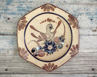 Tonala Pottery Decorative Plate Stoneware Pottery, Mexican Folk Art, Mexican Decor Southwest Home