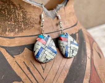 Multi Stone Jasper Lapis Turquoise Shell Slab Inlay Earrings, Santo Domingo Native American Jewelry