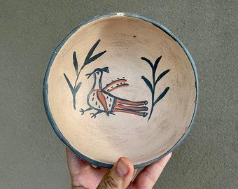 Vintage Pueblo Stew Bowl with Bird Design Burnished Back, Native American Indian Arts and Crafts
