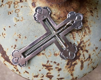 Sterling Silver Cross Inside the Cross Pendant, Vintage Native American Indian Necklace Unisex, Faith Jewelry Catholic Gift for Men