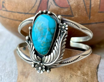 Signed Traditional Native American Turquoise Sterling Silver Cuff Bracelet Feather Floral Design
