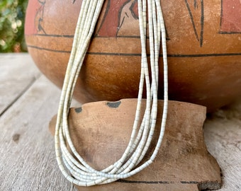 """Vintage Super Fine Six-Strand White Shell Heishi Necklace 28"""", Native American Indian Jewelry"""