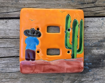 Bright Orange Mexican Pottery Plate Cover Horizontal Switch, Rustic Southwestern Talavera Home