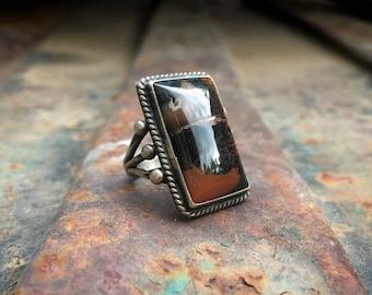 1940s Fred Harvey Era Petrified Wood (Cracked) Ring for Men Women Size 4, Vintage Southwest