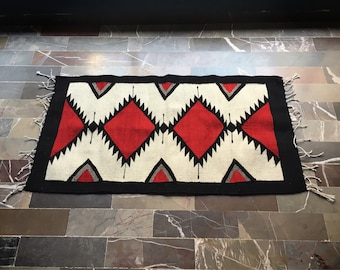 """23"""" x 41"""" Zapotec Rug Black Red White Mexican Rug, Woven Wall Hanging, Southwestern Decor"""