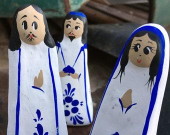 Vintage Tonala Mexican Pottery 13 Pieces Christmas Nativity Scene Set Baby Jesus Joseph Mary