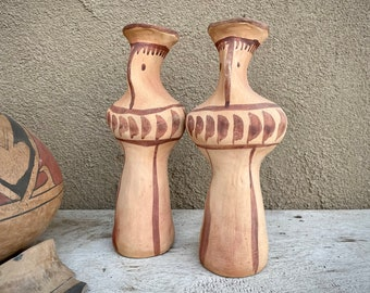 Pair of Greek Ceramic Figural Candle Holders by YRIA Island of Paros, Folk Art Redware Pottery