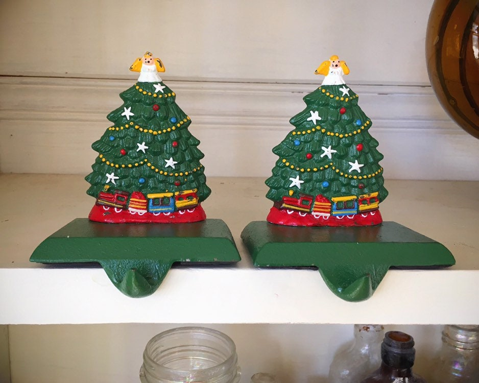 Two Cast Iron Christmas Tree Stocking Holder For Mantle