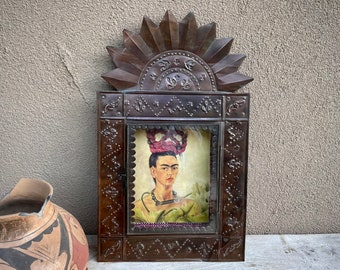 Mexican Punched Metal Shrine Shadowbox with Vintage Frida Print, Southwestern Home Decor Wall Art